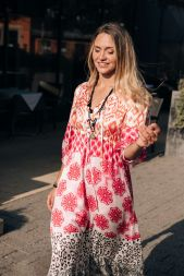 Kleid lang leo-pink